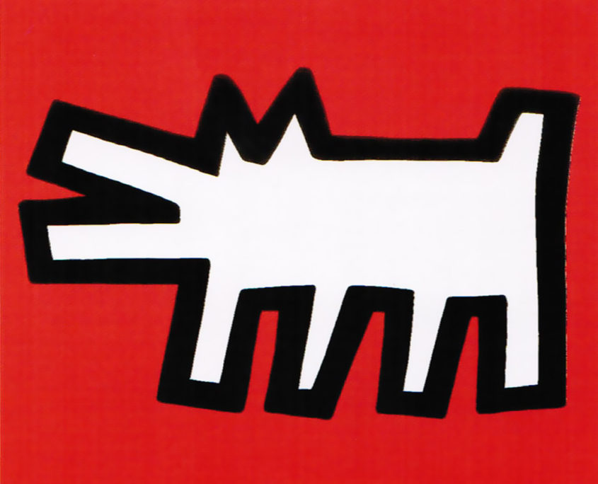 Keith Haring | Icons (B) - Barking Dog, | Red | White
