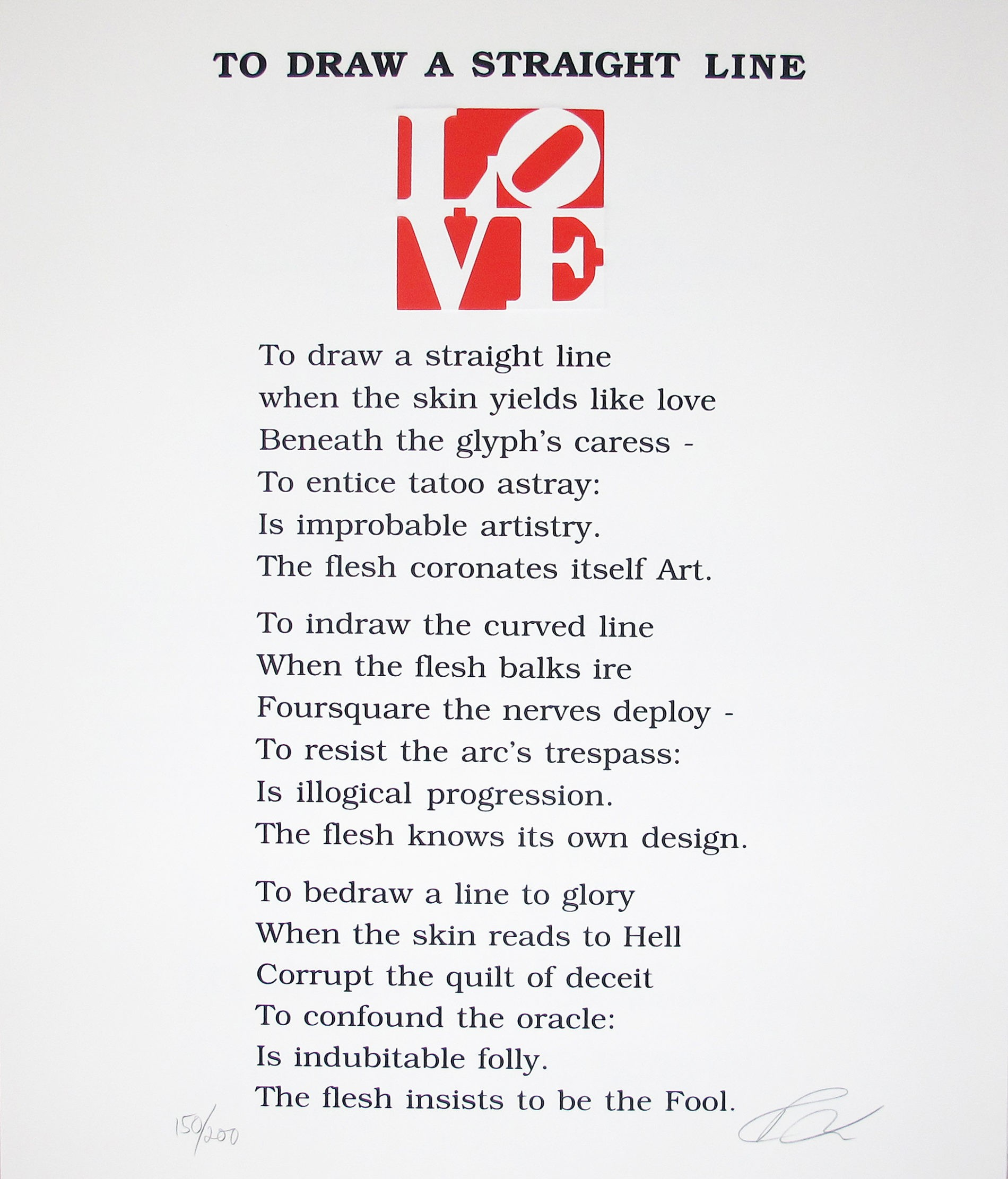 Robert Indiana | The Book of Love Poem | To Draw a Straight Line | 1996 | Image of Artists' work.