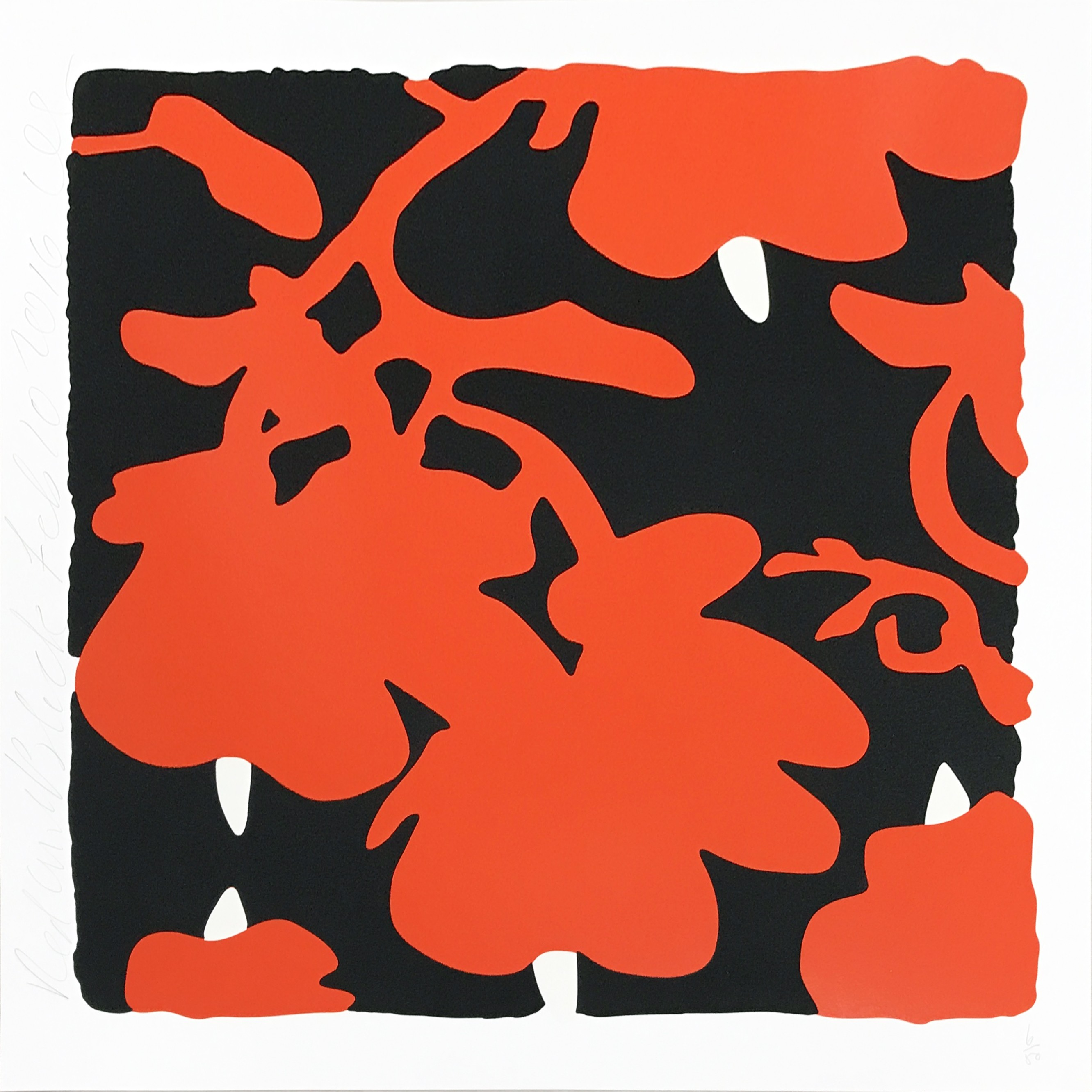 Donald Sultan | Lantern Flowers | Red With Black | 2013 | Image of Artists' work.