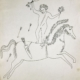 Andy Warhol | In the Bottom of My Garden Study Drawing (Man on Horse) | c. 1955